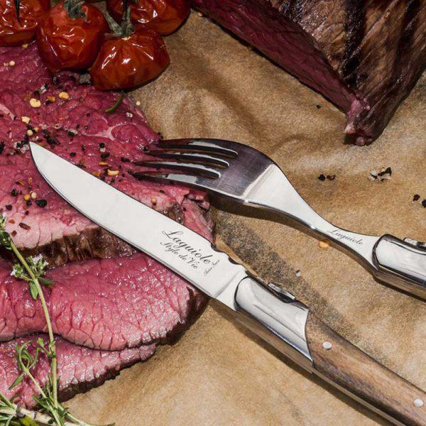 style de vie laguiole steakmessen olijfhout geschenk