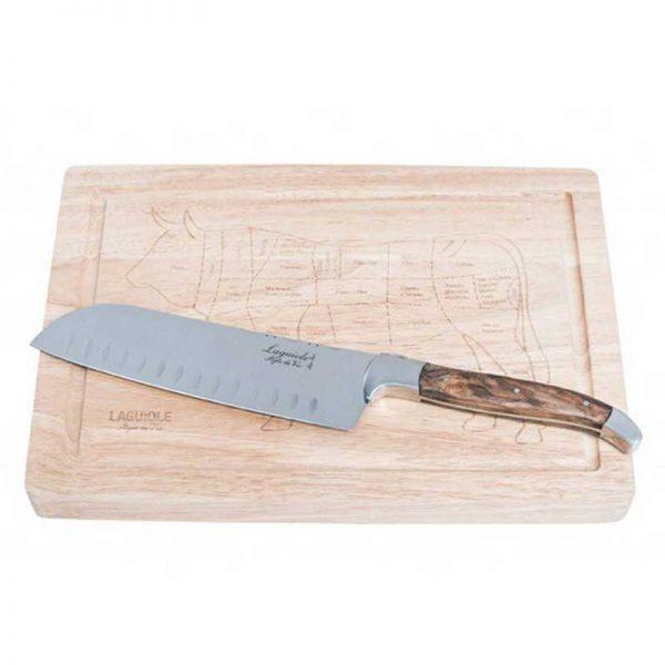 laguiole style de vie olijfhout santokumes houten plank cadeauverpakking