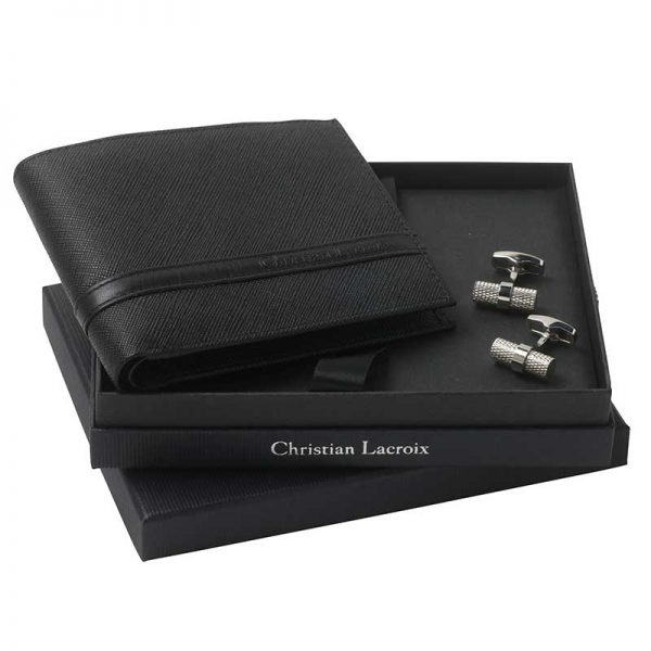 geschenjkpakket man christian lacroix portefeuille en manchetknopen