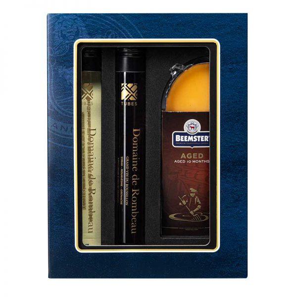 luxe giftbox tubes wijn en beemster kaas relatiegeschenk cadeau