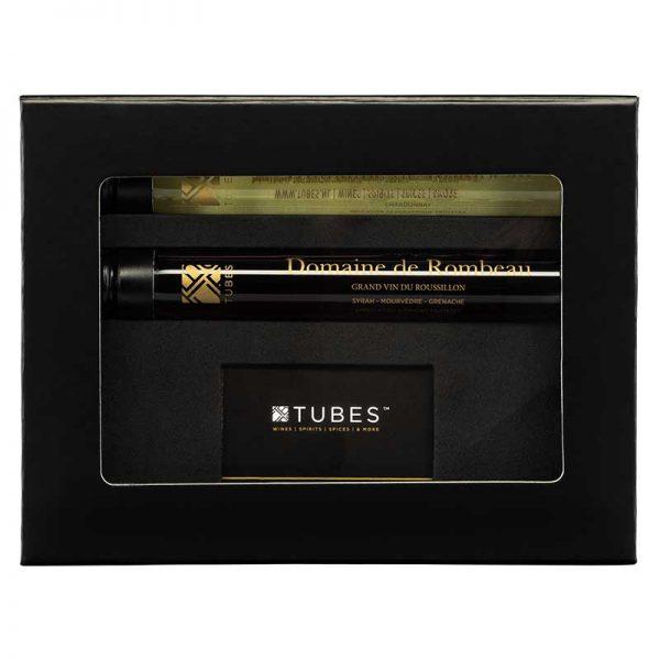 luxe giftbox tubes wijn en giftcard relatiegeschenk